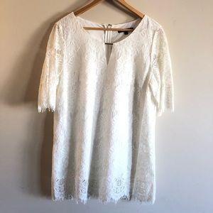 Preston & York White Lace Top Size L NWOT